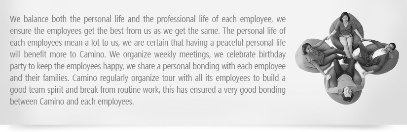 We balance both the personal life and the professional life of each employee, we ensure the employees get the best from us as we get the same. The personal life of each employees mean a lot to us, we are certain that having a peaceful personal life will benefit more to CAMINO. We organize weekly meetings, we celebrate birthday party to keep the employees happy, we share a personal bonding with each employee and their families. CAMINO regularly organize tour with all its employees to build a good team spirit and break from routine work, this has ensured a very good bonding between CAMINO and each employees.